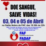 A Doação de Sangue será por meio de Agendamento. Falar com a Prof.ª Mariana Emídio Oliveira Ribeiro. E-mail: mariana_meo@hotmail.com